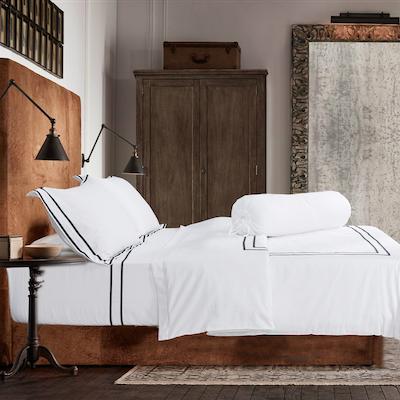 (Queen) Hotelier Prestigio™ 6-pc Bedding Set - Black Grosgrain Border - Image 2