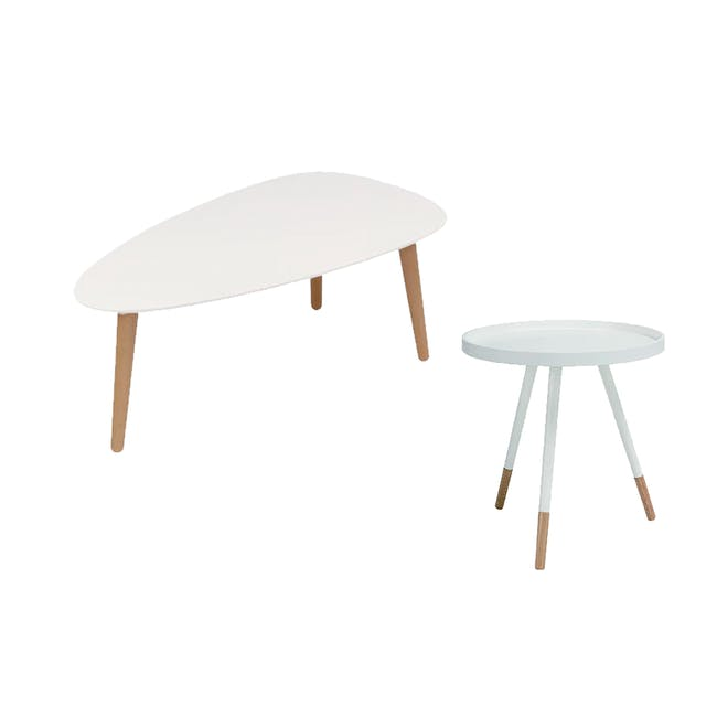 Avery Coffee Table in White and Innis Coffee Table in White - 0