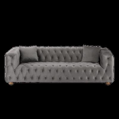 Alexander 3 Seater Sofa - Silver (Velvet) - Image 1