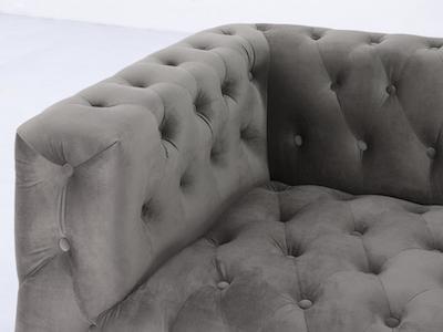 Alexander 3 Seater Sofa - Silver (Velvet) - Image 2