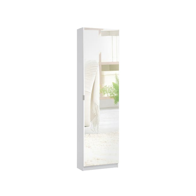 Lina Mirror Tall Shoe Cabinet - White - 0