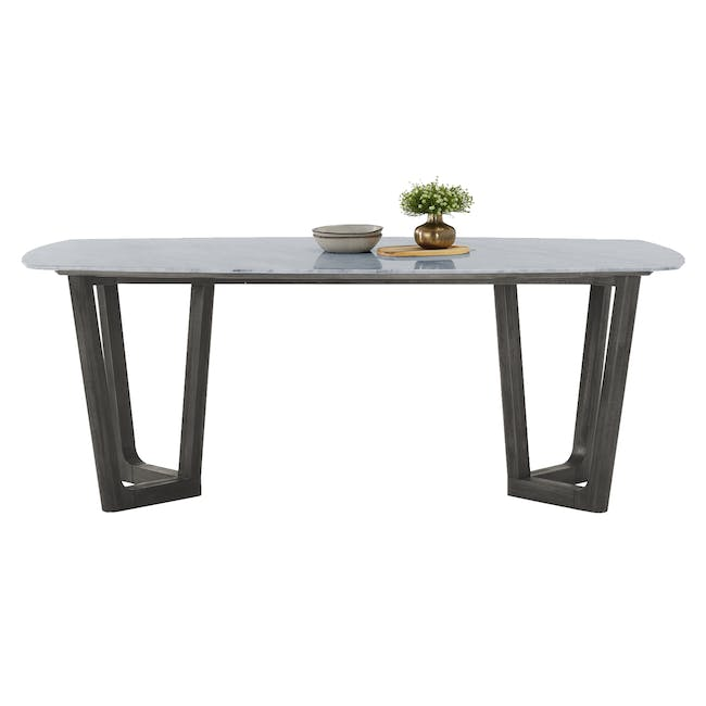 Carson Marble Dining Table 2m with 4 Edson Dining Armchairs - 3