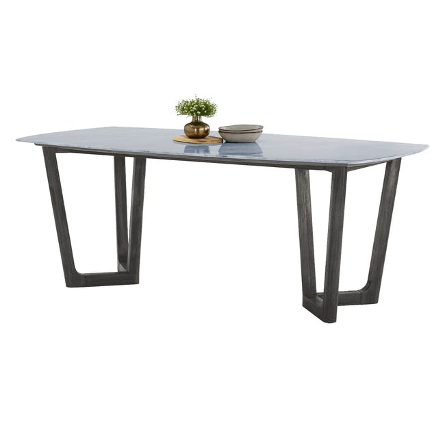 Carson Marble Dining Table 2m with 4 Edson Dining Armchairs - 4
