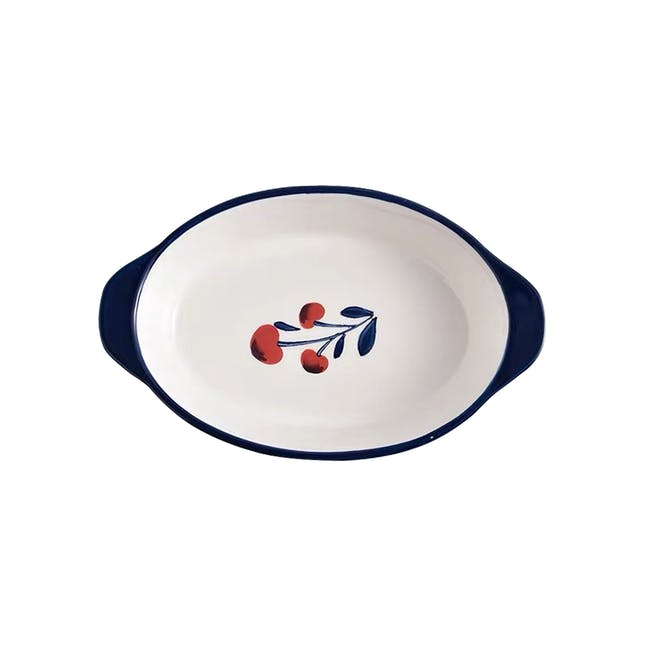 Table Matters Holiday Berry Hand Painted Baking Dish with Handles - 0