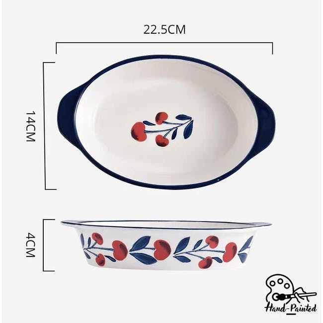 Table Matters Holiday Berry Hand Painted Baking Dish with Handles - 2