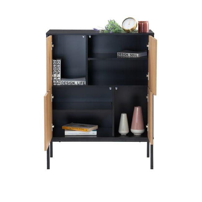 Sligo Tall Sideboard 0.8m - Black, Oak - 1