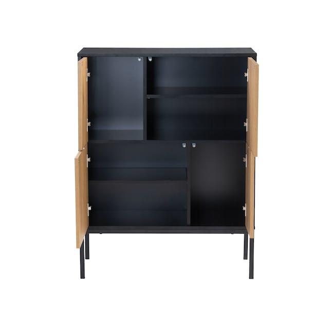 Sligo Tall Sideboard 0.8m - Black, Oak - 3