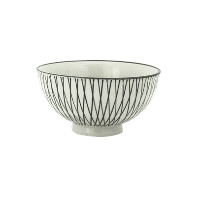 Vertiver Small Rice Bowl - White, Crossed - Image 1
