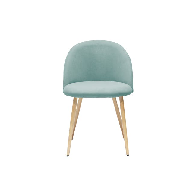 Chloe Dining Chair - Oak, Aquamarine - 3