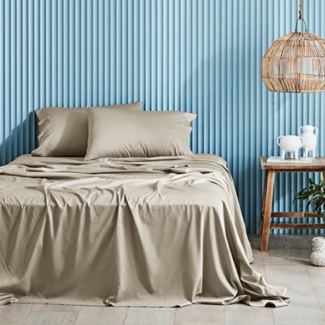 Canningvale Lustro Bamboo Quilt Cover Set - Champagne Linen (2 Sizes) - 0