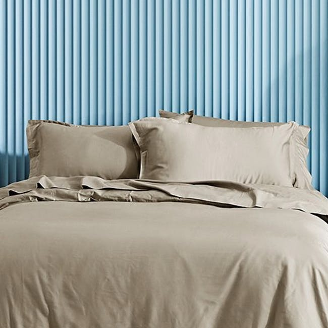Canningvale Lustro Bamboo Quilt Cover Set - Champagne Linen (2 Sizes) - 1