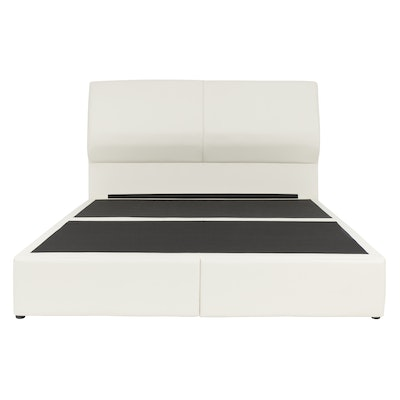 Lewis Headboard Drawer Bed - White (Faux Leather)