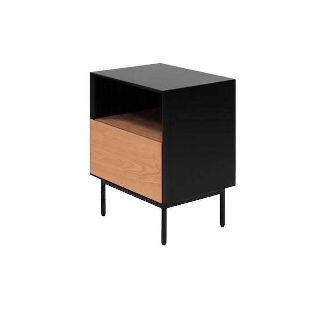 Lewis Bedside Table - Black, Oak - 0