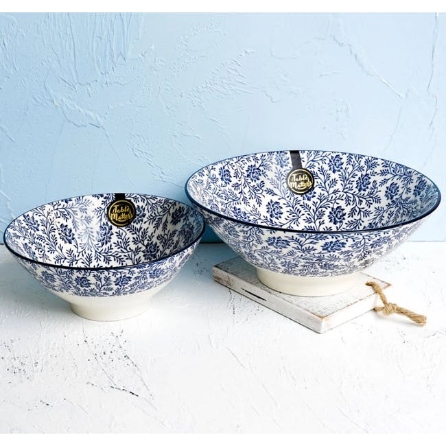 Table Matters Floral Blue Ramen Bowl (2 Sizes) - 1