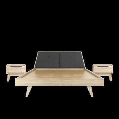 Parker King Wooden Bed with 2 Parker Bedside Tables - Image 1