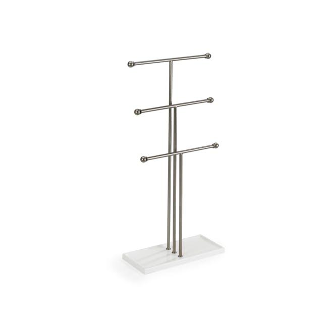 Trigem Jewelry Stand - White, Nickel - 0