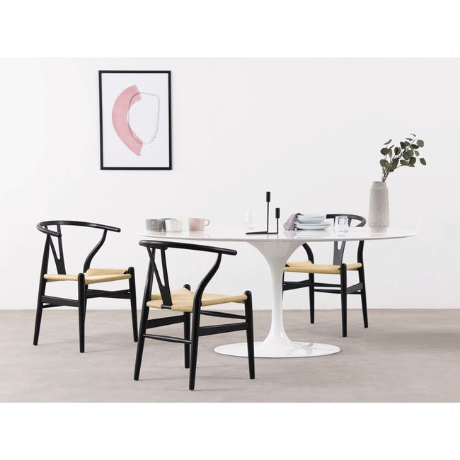 Tyrus Dining Table 2m with 4 Wishbone Chair Replica in Black, Natural Cord - 4