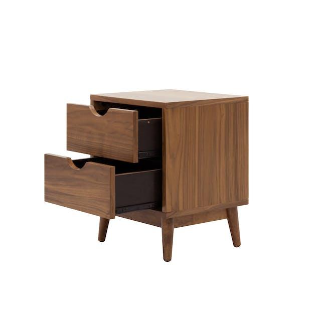 Kyoto Twin Drawer Bedside Table - Walnut - 3