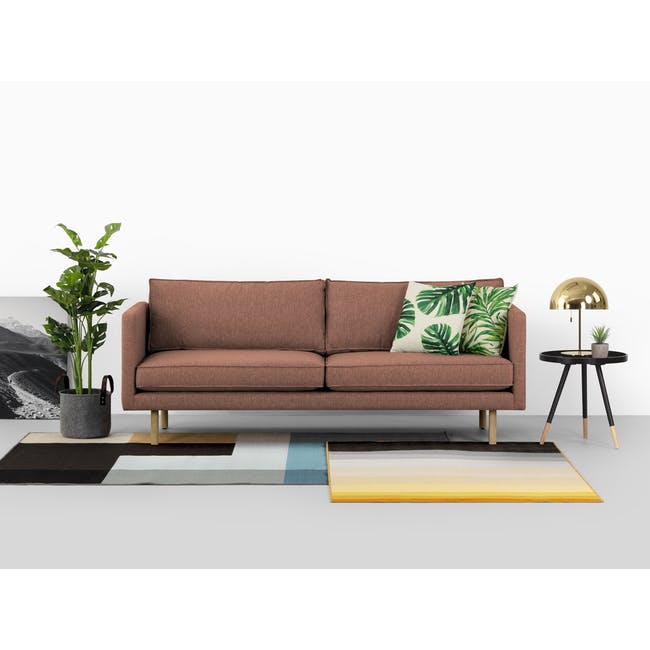 Rexton 3 Seater Sofa - Rosy Brown (Fabric), Down Feathers - 1