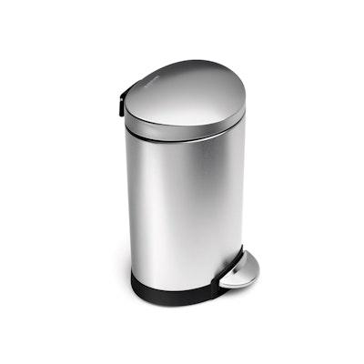 simplehuman Semi-Round Step Bin 6L - Silver - Image 1