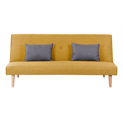 Andre Sofa Bed - Mustard with Grey Cushions - Image 1