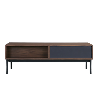 Bacchus Twin Drawer Coffee Table - Grey, Walnut - Image 1