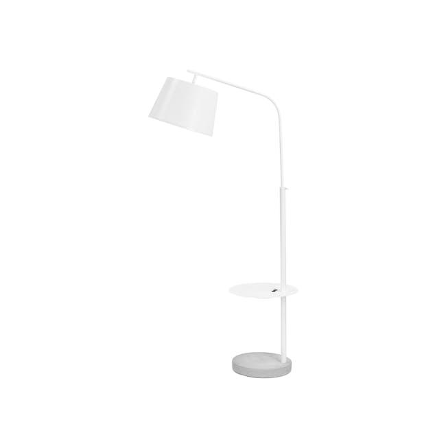 Hudson Floor Lamp with USB Port - White - 0