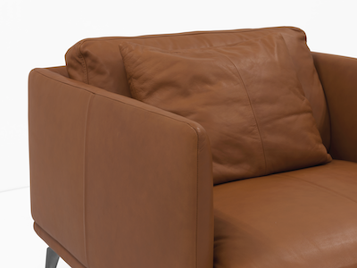 Como 1.5 Seater Sofa - Brown (Genuine Cowhide), Down Feathers - Image 2