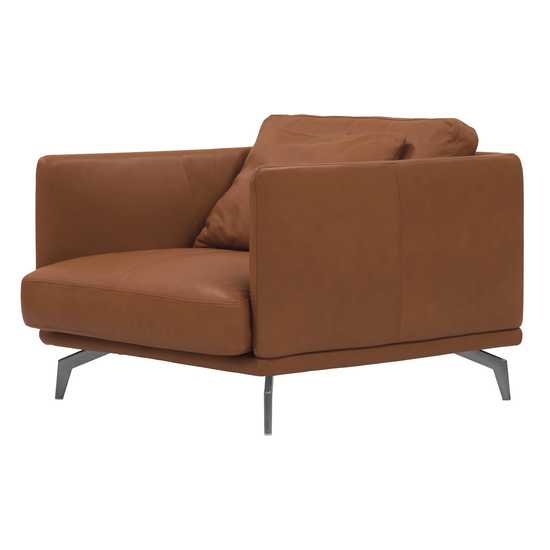 Como 1 5 Seater Sofa Brown Genuine Cowhide Down Feathers