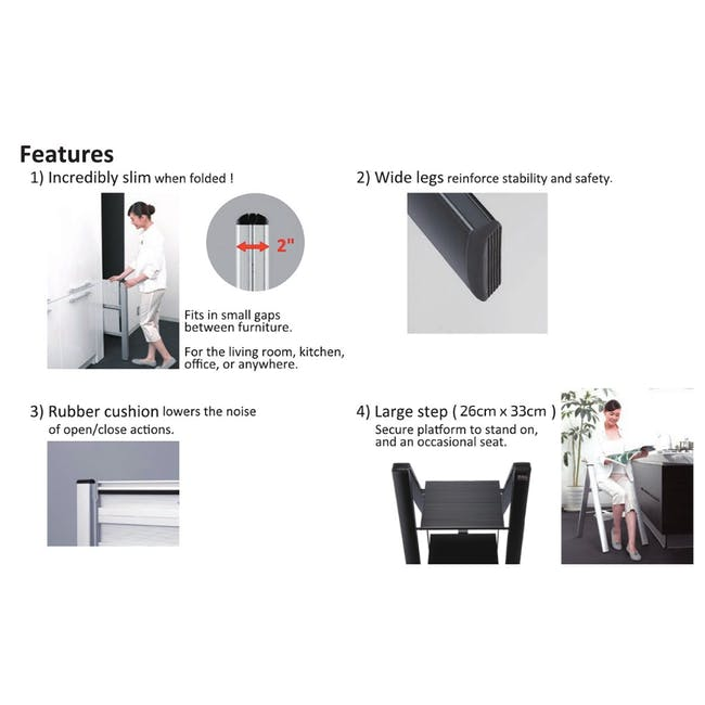 Hasegawa Lucano Slim Aluminium 3 Step Stool - Black - 8