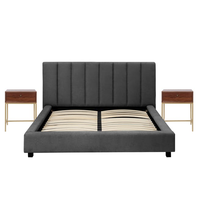 Elliot Queen Bed in Onyx Grey with 2 Nixon Bedside Tables in Gold, Walnut - 0
