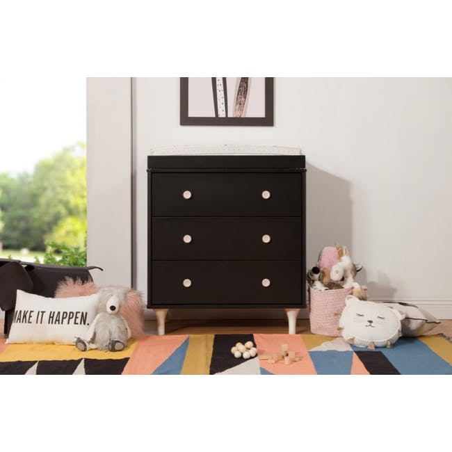 Babyletto Lolly 3-Drawer Dresser with Removable Changing Tray- Black & Washed - 1