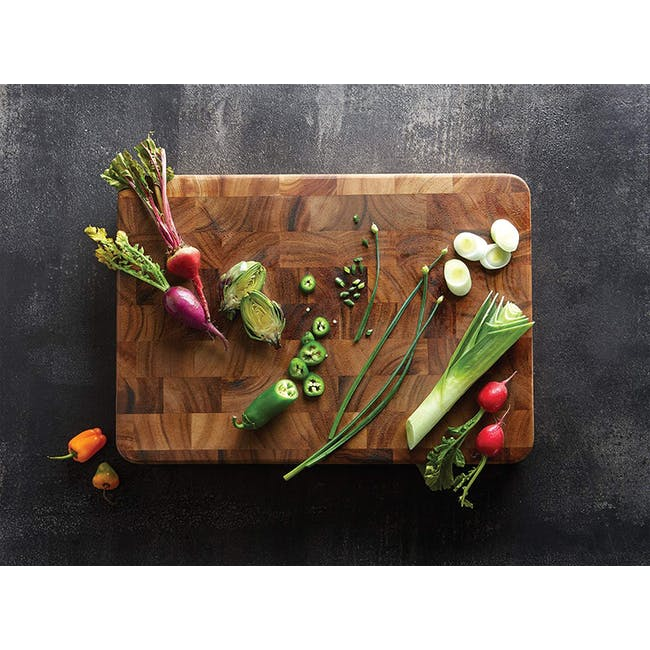 Ironwood Large End Grain Prep Station Acacia Wood Cutting / Serving Board - 2