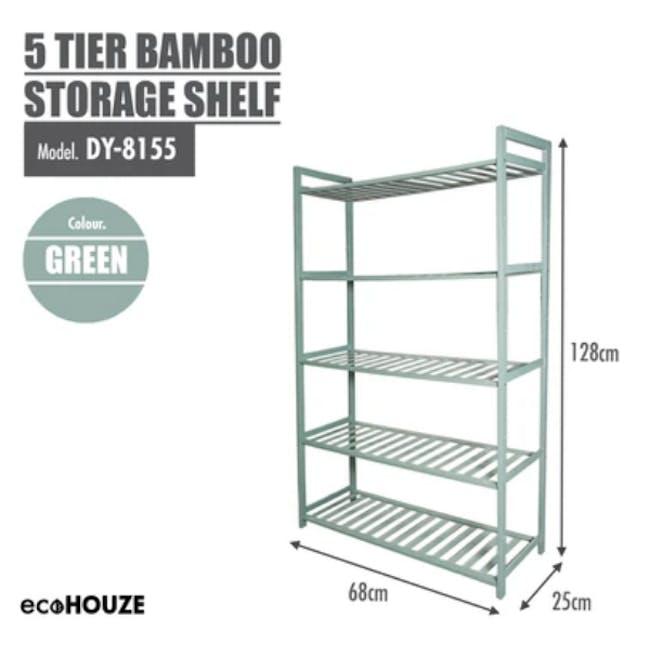 Ecohouze 5 Tier Bamboo Storage Shelf 68cm - Green - 2
