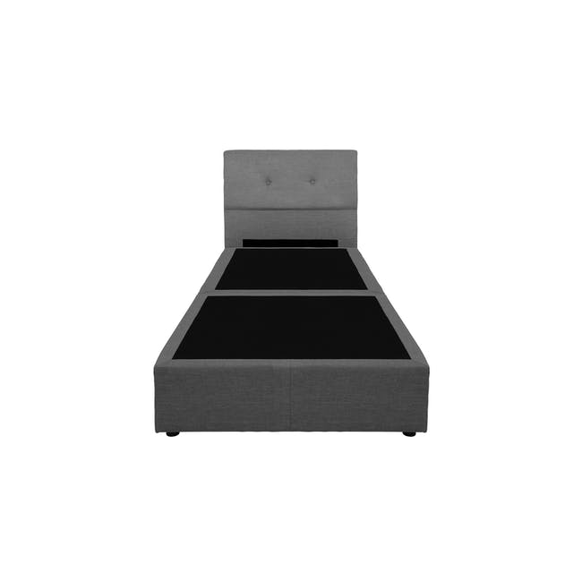 ESSENTIALS Super Single Headboard Box Bed - Smoke (Fabric) - 1