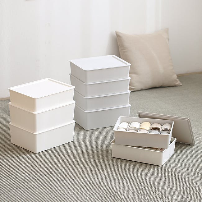 Paxton Compartment Box (Set of 3) - Light Grey - 4
