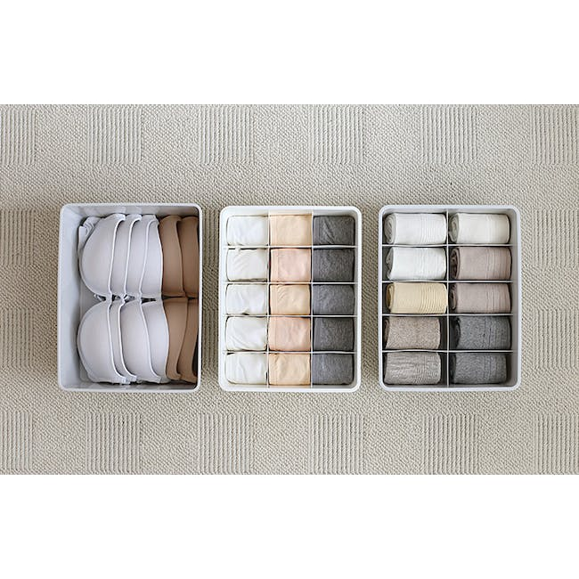 Paxton Compartment Box (Set of 3) - Light Grey - 1