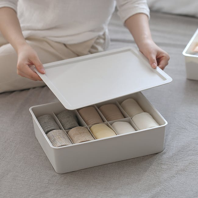 Paxton Compartment Box (Set of 3) - Light Grey - 3