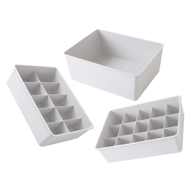 Paxton Compartment Box (Set of 3) - Light Grey - 0