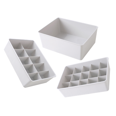 Paxton Compartment Box (Set of 3) - Light Grey - Image 1