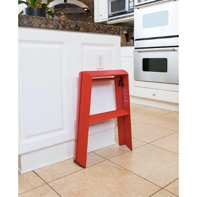 Hasegawa Lucano Aluminium 2 Step Stool - Red - 1