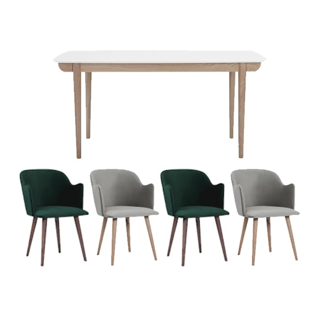 Larisa Dining Table 1.6m with 4 Anneli Dining Armchairs in Grey and Dark Green Velvet - 0