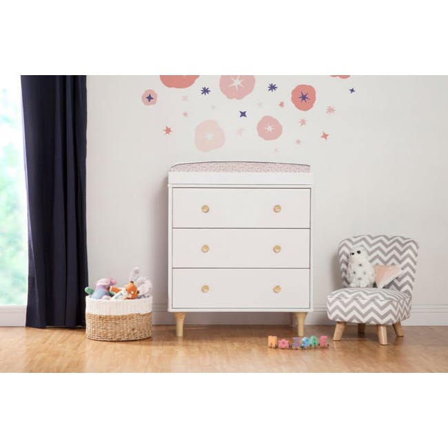 Babyletto Lolly 3-Drawer Dresser with Removable Changing Tray - White & Natural - 1