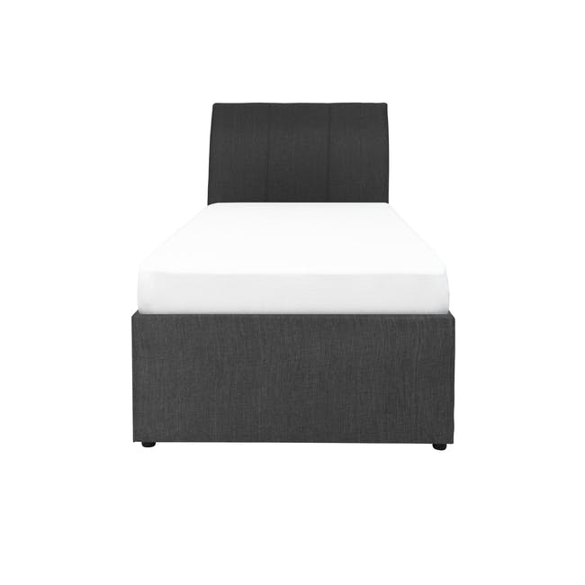 ESSENTIALS Single Trundle Bed - Smoke (Fabric) - 0