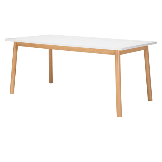 Malmo - Kendall Dining Table 1.8m - Natural, White Lacquered