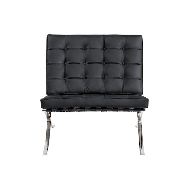 Barcelona Chair Replica - Black (Genuine Cowhide) - 0