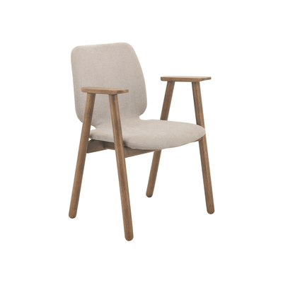Missie Dining Arm Chair - Cocoa, Light Grey - Image 1