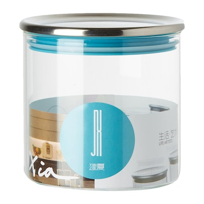 600ml Glass Jar With Stainless Steel Cover - Blue - Image 2