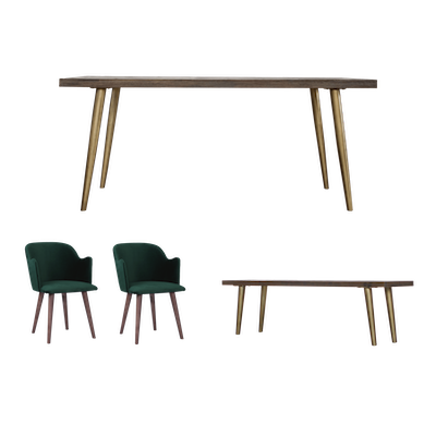 Cadencia Dining Table 1.6m with Cadencia Bench 1.3m and 2 Anneli Dining Chairs - Image 1