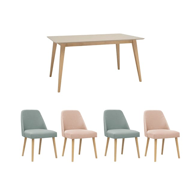 Ralph Dining Table 1.5m in Taupe Grey with 4 Miranda Chairs - 0
